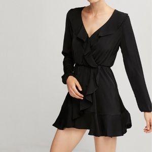 NWT Express Ruffle Elastic Waist Wrap Dress, XS